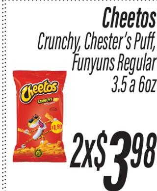 Cheetos Crunchy, Chester's Puff, Funyuns Regular