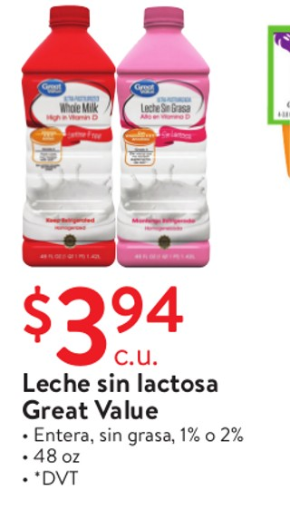 Leche Sin Lactosa Great Value