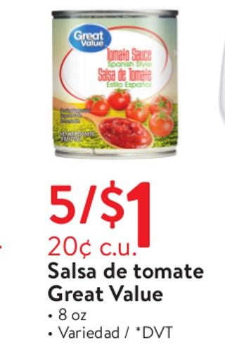 Salsa de Tomate Great Value