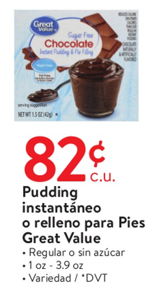 Puddings Instantáneo o Relleno para Pies Great Value
