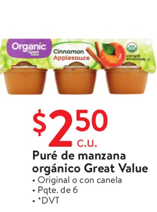 Puré de Manzana Orgánico Great Value