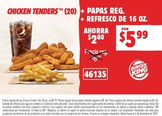 Chicken Tenders (20) + Papas Reg. + Refresco de 16 oz