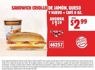 Sandwich Criollo de Jamón, Queso y Huevo + Café 8 oz