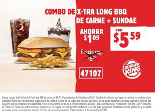 Combo de Xtra Long BBQ de Carne + Sundae
