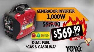 Generador Inverter 2,000 W Dual Fuel Gas & Gasolina