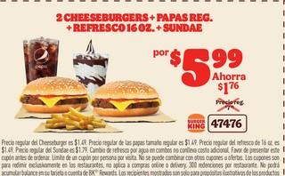 2 Cheeseburgers+Papas Reg. + Refresco 16 oz.+ Sundae