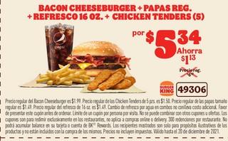 Bacon Cheeseburger+Papas Reg+Refrescos 16oz