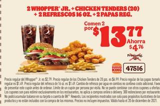 2 Whopper JR.+Chicken Tenders (20)+ 2 Refrescos 16 oz