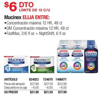 Mucinex Concentración Maxima, DM concentracion Maxima Y/O FastMax