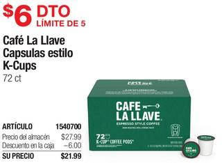 Café La Llave Capsulas estilo K-Cups