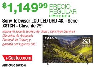 Sony Televisor LCD LED UHD 4K- Serie X81CH- Clase de 75