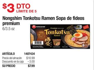 Nongshim Tonkotsu Ramen Sopa de Fideos Premium