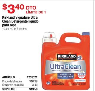 Kirkland Signature Ultra Clean Detergente Liquido para Ropa