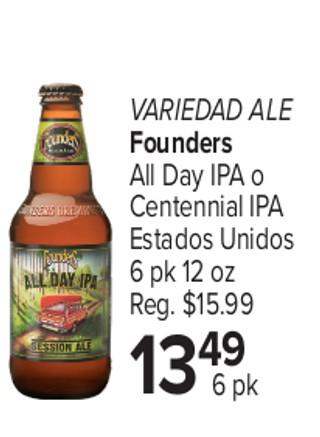 Variedad Ale Founders All Day IPA o Centennial APA Estados Unidos
