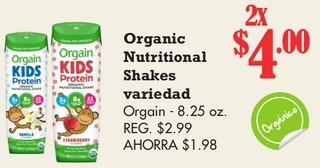 Organic Nutritional Shakes Variedad