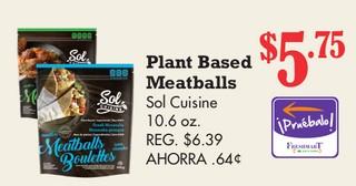 Plant Based Meatballs Sol Cuisine 10.6 oz