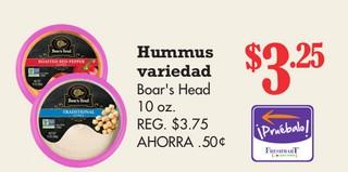Hummus Variedad Boar's Head 10 oz