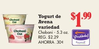 Yogurt Avena Variedad Chobani - 5.3 oz
