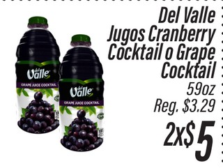 Del Valle Jugos Cranberry Cocktail o Grape Cocktail