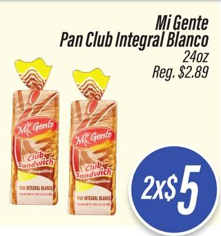 Mi Gente Pan Club Integral Blanco