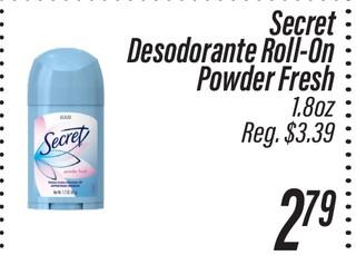 Secret Desodorante Roll-On Powder Fresh