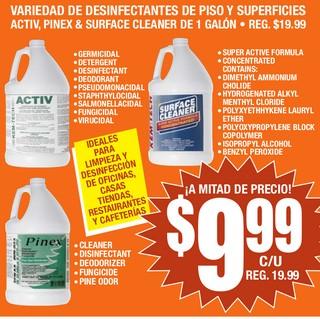 Variedad de Desinfectantes de Piso y Superficies