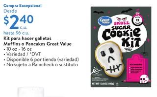 Kit para hacer galletas Muffins o Pancakes Great Value