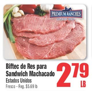 Biftec de Res para Sandwich Machacado