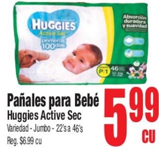 Pañales Para Bebé Huggies Active Sec