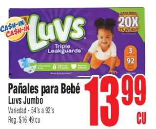 Pañales Para Bebé Luvs Jumbo
