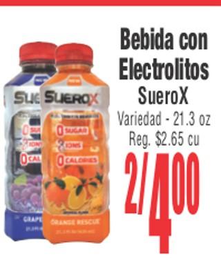 Bebidas con Electrolitos Suero x