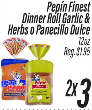 Pepín Finest Dinner Roll Garlic & Herbs o Panecillo Dulce