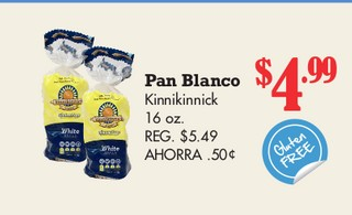 Pan Blanco Kinnikinnick 16 oz
