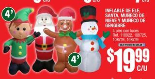 Inflable de Elf Santa Muñeco de Nieve