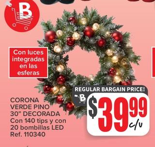 Corona Verde Pino 30'' Decorada con 140 tips y con 20 bombillas LED