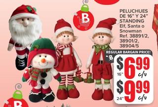 Peluches de 16'' y 24'' Standing ELF, Santa o Snowman