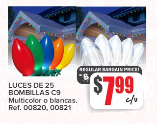 Luces de 25 Bombillas C9 Multicolor Blancas