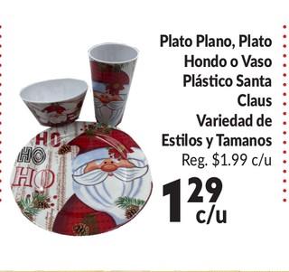 Plato Plano, Plato Hondo o Vaso Plastico Santa Claus