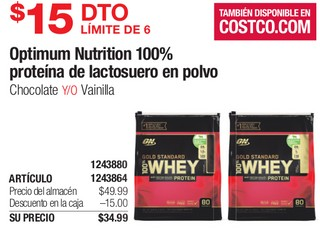 Optimum Nutrition 100% Proteína de Lactosuero en Polvo