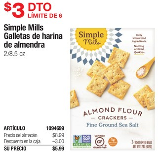 Simple Mills Galletas de Harina de Almendra