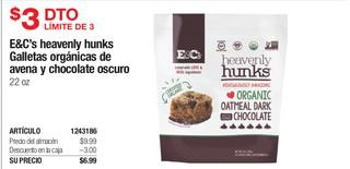 E&C's Heavenly Hunks Galletas Orgánicas de Avena y Chocolate