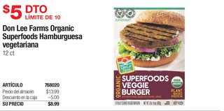 Don Lee Farms Organic Superfoods Hamburguesa
