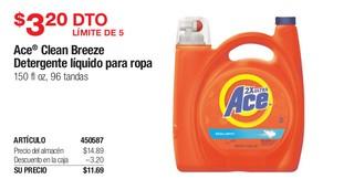 Ace Clean Breeze Detergente Líquido para Ropa