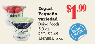 Yogurt Pequeño Variedad Daiya Foods