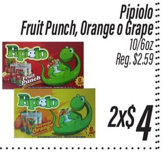 Pipiolo Fruit Punch, Orange o Grape