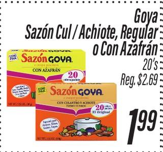 Goya Sazón Cul/Achiote, Regular o Con Azafrán 20's