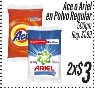 Ace o Ariel en Polvo Regular 500 gr